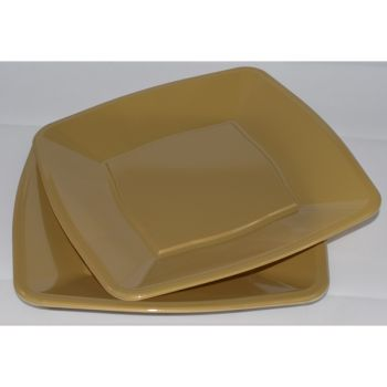 """Mashers 7"""" Gold Plastic Wedding Party Square Disposable Side Plates – Case of 240"""