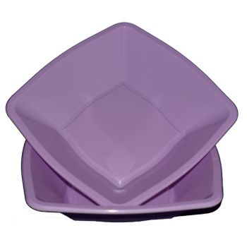 "Mashers 7"" Lilac Plastic Square Disposable Party Soup/Salad/Dessert/Snack Bowls – Case of 240"