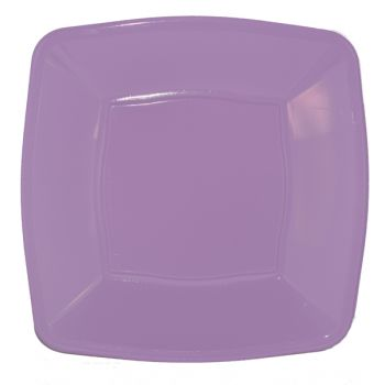 """Mashers 9"""" Lilac Plastic Square Disposable Party Dinner/Side Plates – Case of 240"""