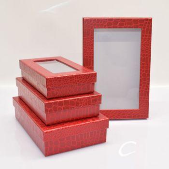 Orange Gift Boxes - Rectangular/Leather Look|Set Of 4