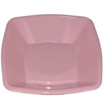 "Mashers 7"" Pink Plastic Square Disposable Party Soup/Salad/Dessert/Snack Bowls – Case of 240"