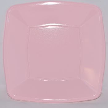 """Mashers 9"""" Pink Plastic Square Disposable Party Dinner/Side Plates – Case of 240"""