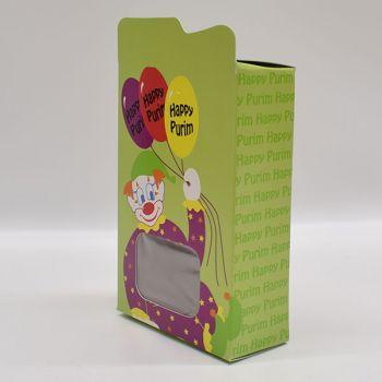 4 x Purim Clown Candy Box - Green Ballons Design
