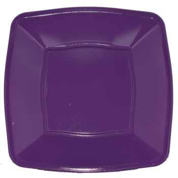 "Mashers 7"" Purple  Plastic Square Disposable Party Soup/Salad/Dessert/Snack Bowls – Case of 240"