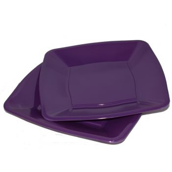 """Mashers 9"""" Purple Plastic Square Disposable Party Dinner/Side Plates – Case of 240"""