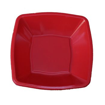 "Mashers 7"" Red Plastic Square Disposable Party Soup/Salad/Dessert/Snack Bowls – Case of 240"