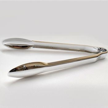 Mashers Reflections Disposable Plastic Silver Serving Tongs – Case of 40