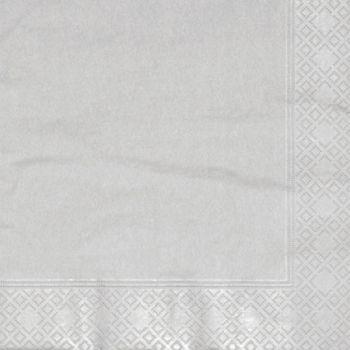 600 x Metallic Silver Paper Dinner Napkins - 40cm/3ply