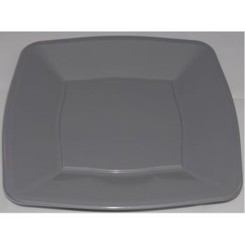 """Mashers 9"""" Silver Plastic Square Disposable Party Dinner/Side Plates – Case of 240"""