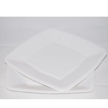 """9"""" White Square Disposable Plastic Party Dinner Plates –  Case of 240"""