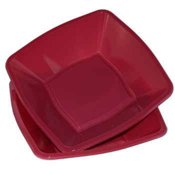 "Mashers 7"" Burgundy Plastic Square Disposable Party Soup/Salad/Dessert/Snack Bowls – Case of 240"