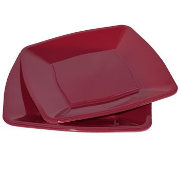 """Mashers 9"""" Burgundy Plastic Square Disposable Party Dinner/Side Plates – Case of 240"""