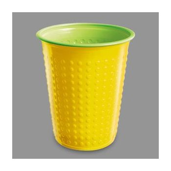 1200 x Yellow/Green Disposable Plastic Party Cups - 7oz