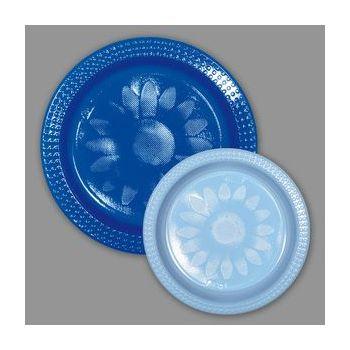 720 x Bicolor Plastic  Plates - Blue/Sky Blue