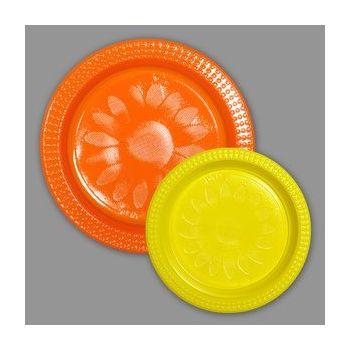 720 x Bicolor Plastic  Plates - Orange/Yellow