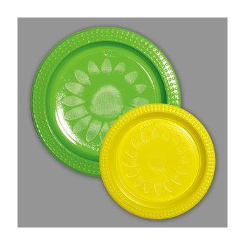 720 x Bicolor Plastic  Plates - Green/Yellow