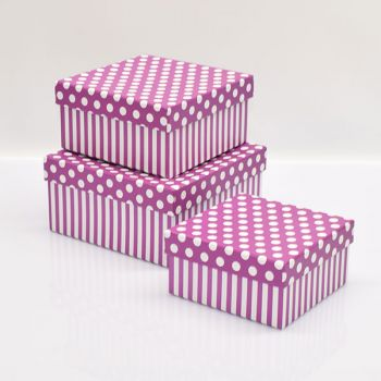Pink Square Cardboard Gift Boxes/Spotty Design|Set Of 3
