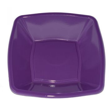 "Mashers 4"" Purple Plastic Disposable Square Snack Bowls – Case of 240"