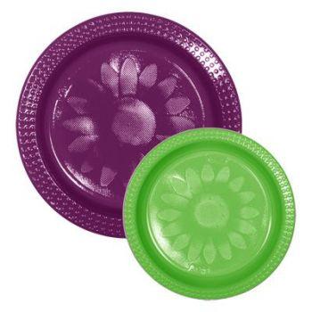 720 x Bicolor Plastic Plates - Violet/Green
