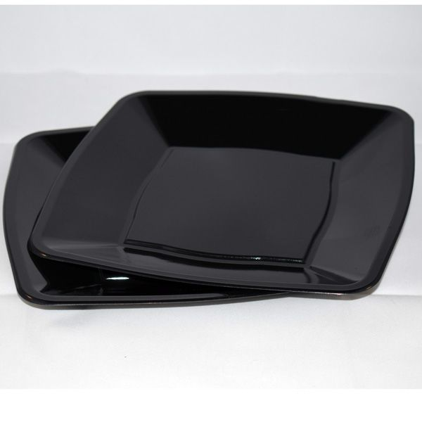 Mashers 9\u201d Black Plastic Square Disposable Party Dinner/Side Plates \u2013 Packs of 10 & 10 x Black Square Plastic Party Dinner Plates 7\
