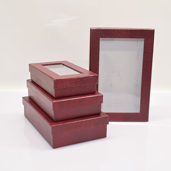 Red Gift Boxes Rectangular Leather Look Set Of 4