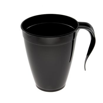 Mashers 8oz Disposable Black Plastic Coffee Cups/Tea Mugs with Handle – Case of 120