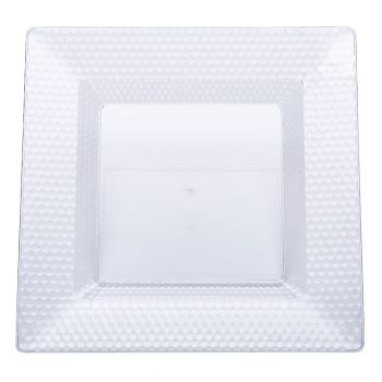120 x Clear Square Quality Diamond Plastic Plates 6.5 inches