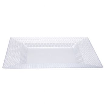 120x Clear Square Quality Diamond Plastic Plates 10.5 inches