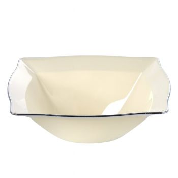 Cream Rectangle Disposable Plastic Dessert Bowls with Silver Rim Case of 120