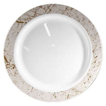 "Mashers 9"" Disposable White Plastic Dinner Side Plates with Silver Marble Effect Case of 120"
