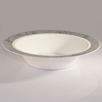 Mashers 14oz Disposable White Plastic Dessert / Soup Bowls Silver Marble Design Case of 120