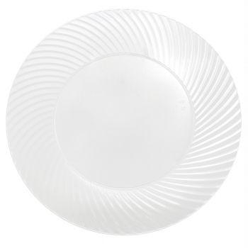 120 x 7 inch Clear Quality Plastic Side Plates Swirl Design