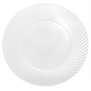 "Mashers 9"" Clear Plastic Swirl Design Wedding Party Disposable Side Plates Case of 120"