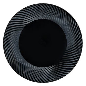 """Mashers 7"""" Black Plastic Swirl Design Disposable Wedding Party Side Plates Case of 120"""