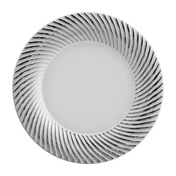 "Mashers 9"" White Plastic Disposable Dinner Plates with Silver Swirl Detail – Case of 120"