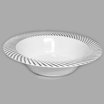 Mashers 6oz White Plastic Disposable Dessert Bowls with Silver Swirl Detail – Case of 120