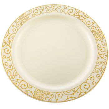 "Mashers 10"" Cream Plastic Disposable Party Dinner Plates with Luxi Gold Design – Case of 120."