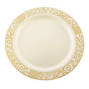"Mashers 9"" Cream Plastic Disposable Party Dinner Plates with Luxi Gold Design – Case of 120"