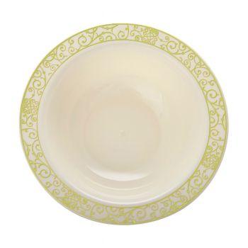 Mashers 5oz Cream Plastic Disposable Salad / Dessert Bowls with Luxi Gold Design – Case of 120