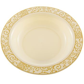 Mashers 12oz Cream Strong Plastic Bowls with Luxi Gold Design Case of 120
