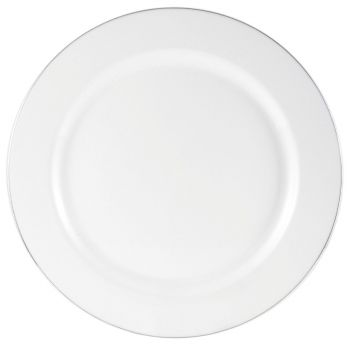 160x 9'' Strong Fancy White Plastic Dinner Plates Silver Rim