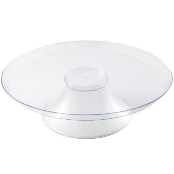 Mashers Large Clear Plastic Disposable 2-Piece Cake Pedestal Stands case of 48