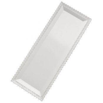 Mashers Nuovo 16x36cm Rectangular White Plastic Disposable Dessert/Cake Platters – Case of 102