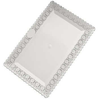Mashers Nuovo 40x26cm Rectangular White Plastic Disposable Cake/Serving Platters – Case of 48