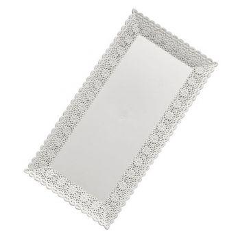 Mashers Nuovo 26x13cm Rectangular White Plastic Disposable Cake/Serving Platters – Case of 156