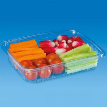 Mashers Optipack 600ml Rectangular Disposable Plastic Food Containers with Lids, Case of 400
