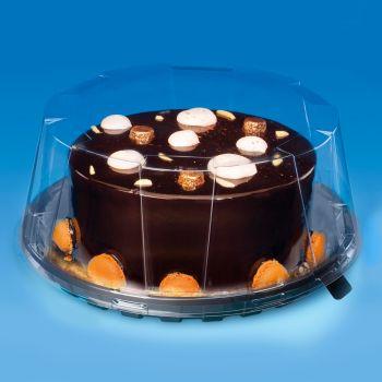 "Black Plastic Cake Trays, 9"" - Case of 180"