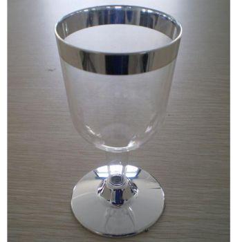 Mashers 6oz Elegant Plastic Disposable Stemmed Wine Glasses with Silver Rim – Case of 300