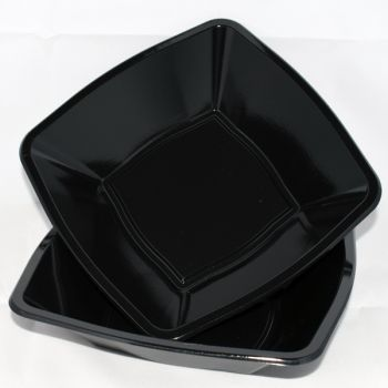 "Mashers 7"" Black Plastic Square Disposable Party Soup/Salad/Dessert/Snack Bowls – Case of 240"