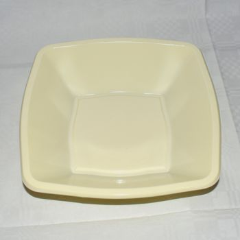 """Mashers 7"""" Cream Plastic Square Disposable Party Soup/Salad/Dessert/Snack Bowls – Case of 240"""